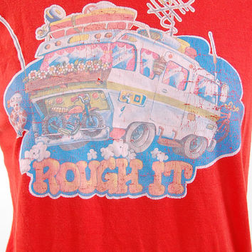 Vintage 70s red Camper Van ROUGH IT t shirt / Camping outdoors Hippie tee / mens xs ladies small