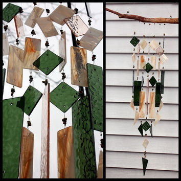 Stained Glass Wind Chime Green Amber  with Unakite Stone Beads