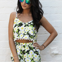 Daisy Print Pom Pom Crop Top & High Waisted Shorts Co-ord Set in White, Yellow & Black