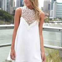 White Sleeveless Dress with High Lace Neckline