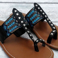 Davidson Aztec Tribal Black Teal Flat Sandals