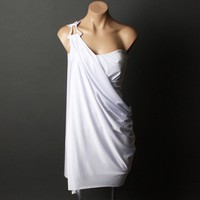 Women White Evening Formal Greek Goddess Strapless One Shoulder Dress | 53735
