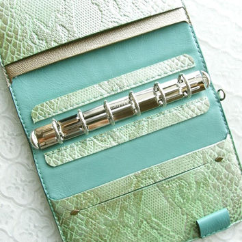 leather binder, pearl mint python, leather planner, planner binder, mint wallet, mint gold, green journal, snake planner, handstitched