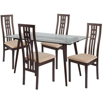 Orland 5 Piece Espresso Wood Dining Table Set with Glass Top and High Triple Window Pane Back Wood Dining Chairs - Padded Seats
