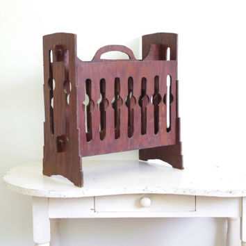 Vintage Wooden Newspaper Rack Wood Magazine Stand