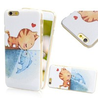 iPhone 6S Case, TURF Cartoon Series Animal Painting Protective Slim Scratch Proof Hard Back Cover Bumper for iPhone 6S 6 4.7 Inch (Kissing Cat and Fish)