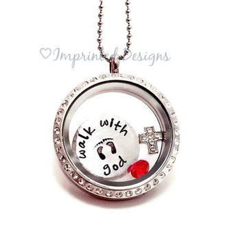 Memory Locket - Remembrance Necklace - Floating Charm Locket - Walk With God