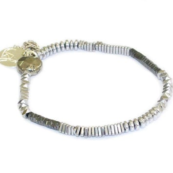 Mixed Black Mirror stretch bracelet in silver