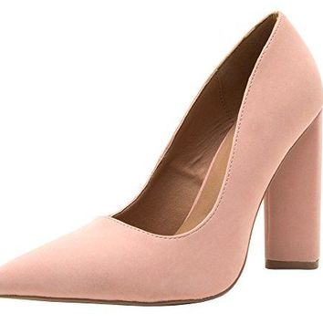 Qupid Womens Closed Pointed Toe Chunky Stacked Block High Heel Pump