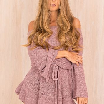 Purple Off The Shoulder Sweater Dress