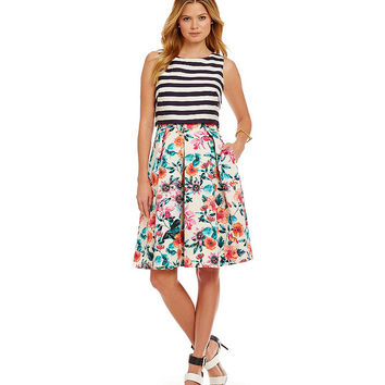 Eliza J Floral & Stripe Pop-Over Bodice Dress | Dillards