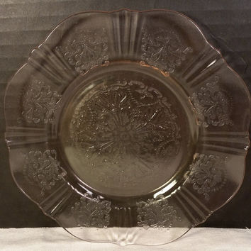 "American Sweetheart MacBeth Evans 6 Plates 6 3/8"" Pink Depression Glass Dessert Bread Butter Crystal Set Six"
