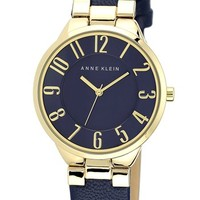 Anne Klein Round Leather Strap Watch, 34mm | Nordstrom