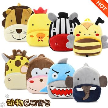 Girls Boys Cute Plush School Backpacks Kindergarten Cartoon School Bag Children Animal Toys Bag Infantes Mochila