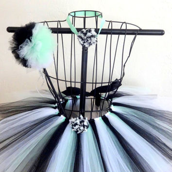 Girls tutu set, Girls zebra tutu set, Birthday tutu set, Girls birthday tutu ,  Mint and black girls tutu, Girls  clothes, Size 3T tutu