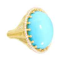 Roule & Company Turquoise Cabochon Diamond Pave Cocktail Ring