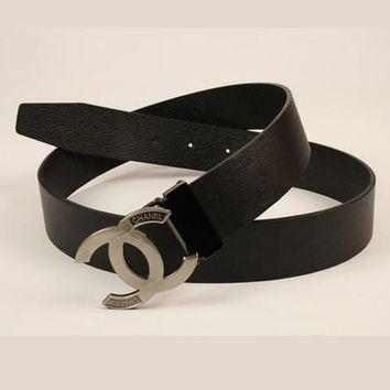 CHANEL Woman Fashion Smooth Buckle Belt Leather Belt Black I