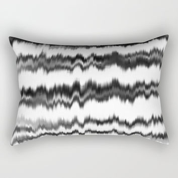 Black+White Soundwaves Rectangular Pillow by Inspire Your Art
