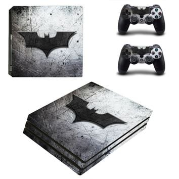 Batman Dark Knight gift Christmas PS4 Pro Skin Sticker Batman Logo Vinyl Decal Cover  For Sony Playstation 4 Pro Console and Two Controllers AT_71_6