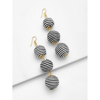 Black And White Striped Pom Drop Earrings