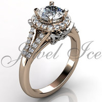 Butterfly Engagement Ring - 14k rose and white gold diamond unique butterfly engagement ring, wedding ring, anniversary ring ER-1114-6
