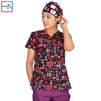 Hennar women scrub top with V neck short sleeve 100% cotton surgical scrubs top 1