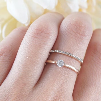 Double Crystal Ring Minimalist Simple Everyday Ring Pave Crystals Ring 2 in 1 Bridesmaids Gift Wedding Bridal