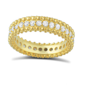 Gold Tone Sterling Silver Simulated Diamond Beaded Eternity Ring