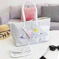 Goyard Newest Women Shopping Bag Leather Handbag Satchel Shoulder Bag Purse Set Two Piece