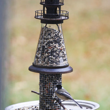 Handmade bird feeder - Garden outdoor backyard patio decor - Rustic OOAK bird watcher gift - Christmas gift - lighthouse lantern bird feeder