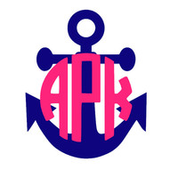 2 in Monogrammed Anchor Decal for Cell by MeowMeowHouseDesigns