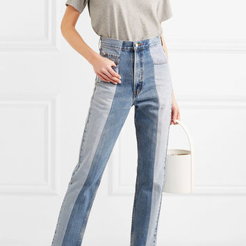 E.L.V. Denim - The Twin two-tone high-rise straight-leg jeans