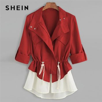 Trendy SHEIN Burgundy Roll Sleeve Drawstring Jacket With Contrast Trim Elegant Cotton Colorblock Outerwear Women Autumn Coat AT_94_13