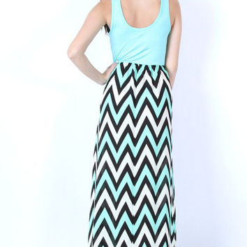 Mint Black Aqua White Chevron Zig Zag Stripe Maxi Dress Boutique Tank Long Soft