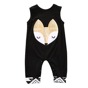Spring Summer Style Infant Baby Girl Boy Animal Printed Sleeveless Romper Jumpsuit Casual Clothes