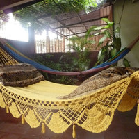 Magic Yellow Magic Hammock Hand Woven Natural Cotton by hamanica