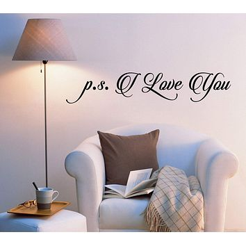 Vinyl Wall Decal P.S I Love You Letter Romantic Style Words Stickers 1993ig (22.5 in x 4 in)