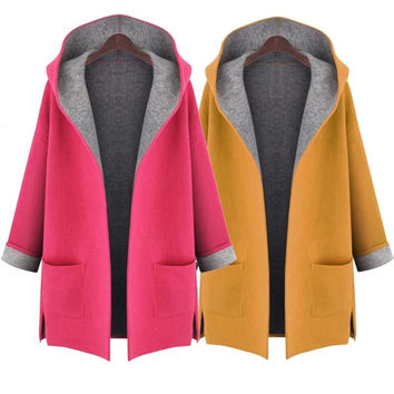New Winter Candy Color Big Yards Coat Europe was Thin Loose Cardigan Fat mm Windbreaker Jacket = 1837902468