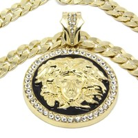 "Mens Gold Tone with Black Medallion Medusa Greek Pendant w/ 30"" 10mm Cuban Curb Link Chain"