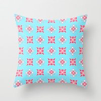 Artistic red pattern on blue Throw Pillow by cycreation