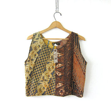 Vintage batik Tank Top. Tribal Print Tank Top. Bali Cropped Tank. cotton Shirt. Boho Tank Tee.