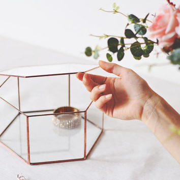 Geometric Jewelry Box / Wedding Photo Box / Glass Keepsake / Gifts For Her / Wedding Gift / Copper Hexagon Box / Rose Gold Picture Storage