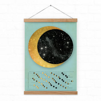 Wall calendar 2017 / Moon Calendar 2017 / lunar calendar - custom / homedecor