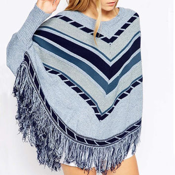 Geometric Print Cape Fringed Pullover Sweater