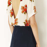 Floral Cut Out Back Blouse - Blouses  - Tops  - Clothing