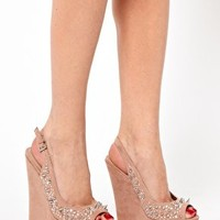 Miss KG Greta Nude Embellisehed Sling Back Wedge Sandals
