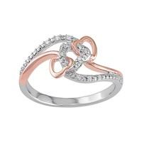 Diamond Accent Two Tone Sterling Silver Interlock Heart Ring (White)