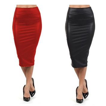 High Waist Leather Long Pencil Skirt