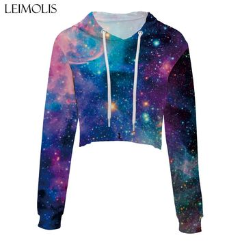 LEIMOLIS crop top hoodie women 3d print blue galaxy space stars skull casual harajuku kawaii Spring Autumn Thin tops sweatshirt