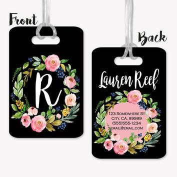 Floral Wreath Bag Tag, Personalized Luggage Wrap, Bag Tag, Personalized Luggage, Travel Gifts, Graduation Gifts for her, Gift for Women